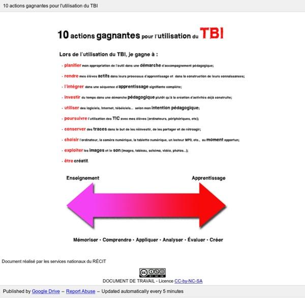 10 actions gagnantes pour l'utilisation du TBI