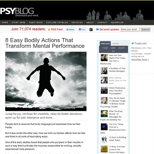 8 Easy Bodily Actions That Transform Mental Performance
