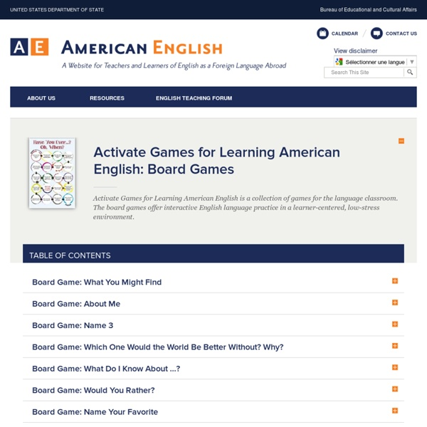 Activate Games for Learning American English: Board Games