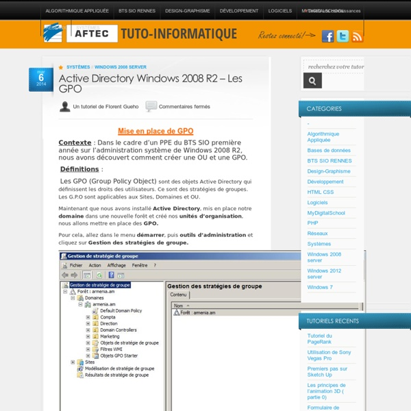 Server 2008 – Les GPO