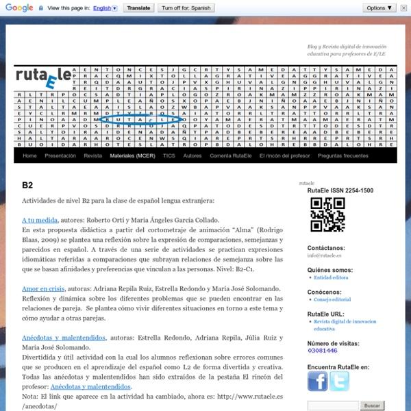 B2: actividades para la clase de español lengua extranjera (ELE)
