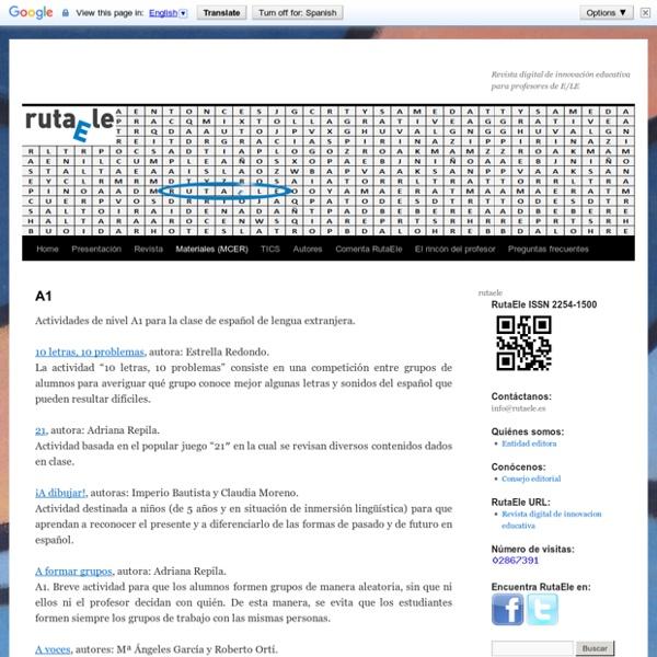 A1: Actividades para la clase de español lengua extranjera (ELE).