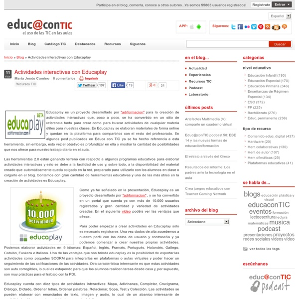 Actividades interactivas con Educaplay
