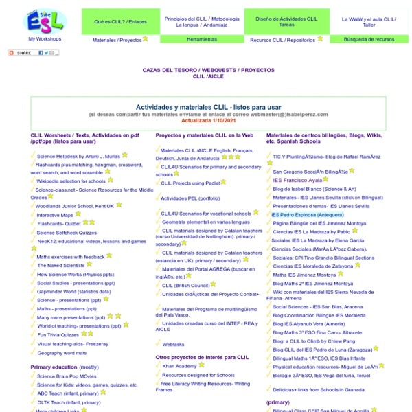 CLIL Projects and Materials (ready to be used) / Actividades y materiales CLIL - listos para usar /