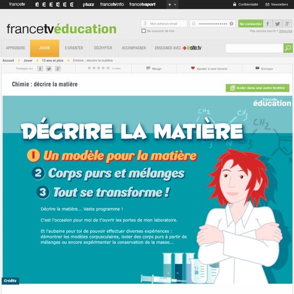 Chimie : décrire la matière - activité interactive - francetv éduca...