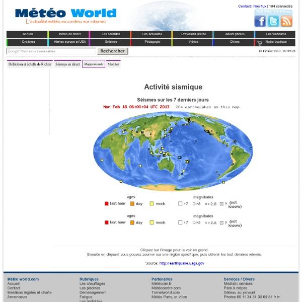 Activité sismique en direct: Les séismes en direct