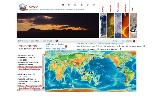 Carte de l'activité volcanique en direct des volcans du monde