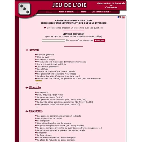 Liste des activités pour apprendre le français en ligne - learn French-