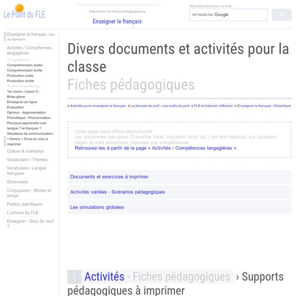 Idées d'activités pour la classe de FLE Fiches pédagogiques