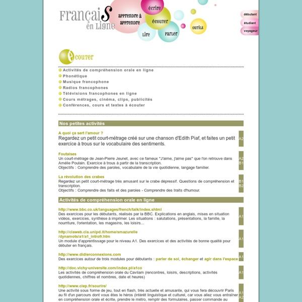 Activités de compréhension orale en ligne