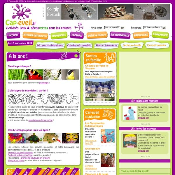 Cap-eveil.fr : activités et jeux éducatifs pour enfants