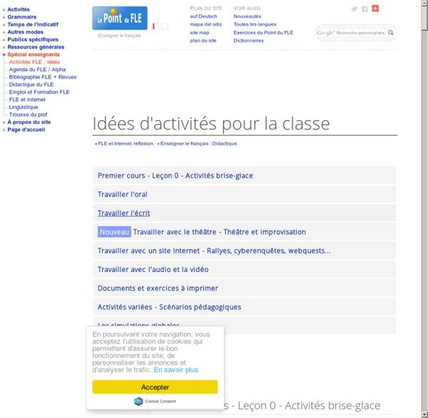 Activités pour la classe de français langue étrangère