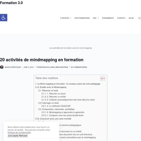 20 activités de formation avec le mindmapping – Formation 3.0