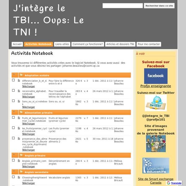 Activités Notebook - J'intègre le TBI