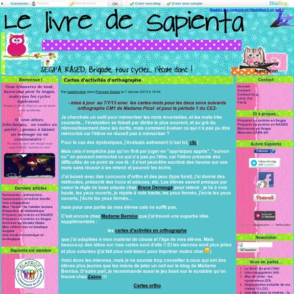 Cartes d'activités d'orthographe