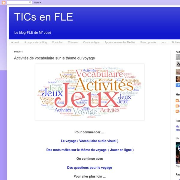 FLE : activités de vocabulaire à partir de différentes thématiques