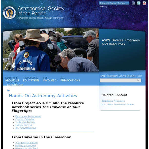 Hands-On Astronomy Activities « Astronomical Society