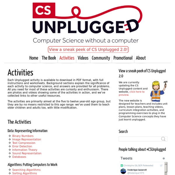 Activities - Computer Science Unplugged