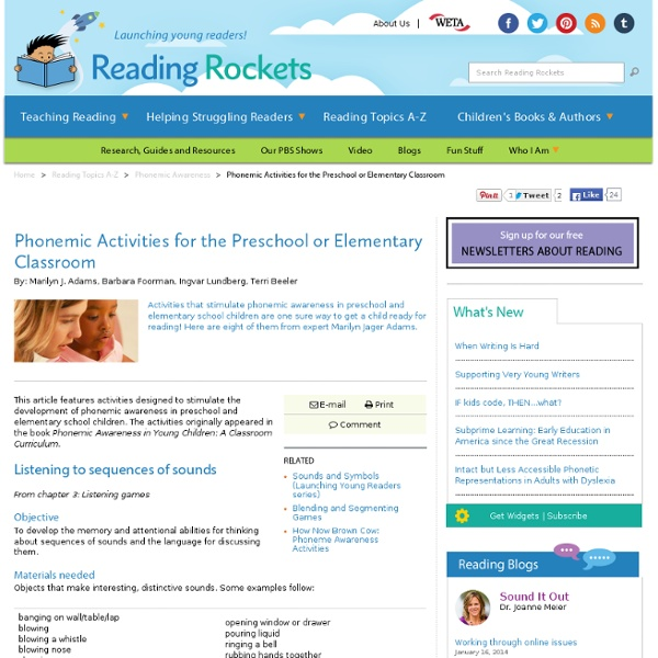 Phonemic Activities for the Preschool or Elementary Classroom