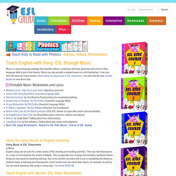 Esl Activities Using English Songs Music Activities For Tefl