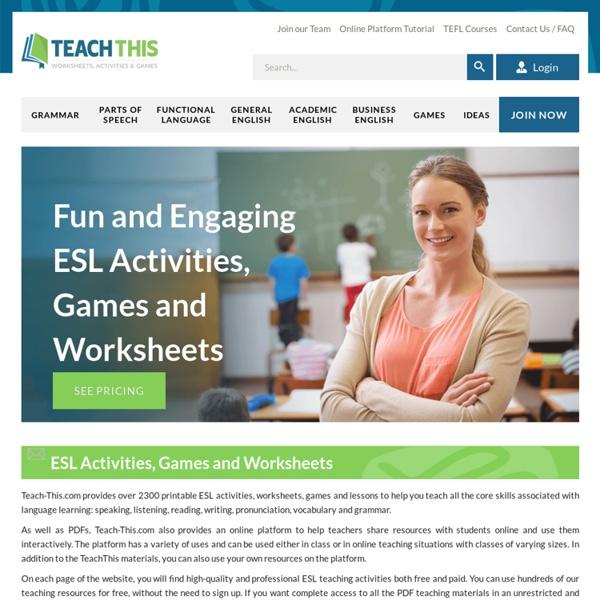 ESL EFL Teaching Activities Worksheets Games