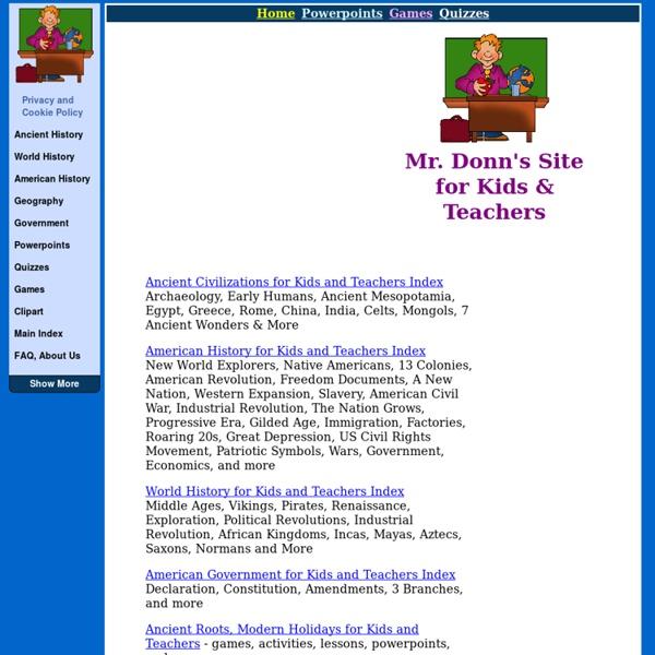 Social Studies - FREE Lesson Plans Activities Games Powerpoints Handouts - for Kids and Teachers
