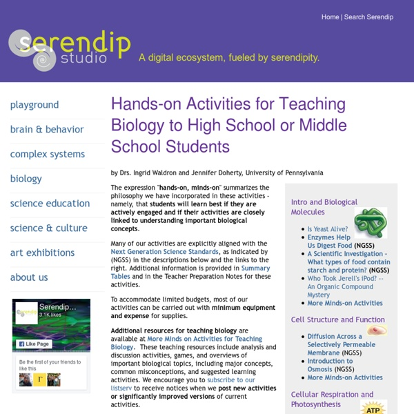 Hands-on Activities for Teaching Biology to High School or Middle