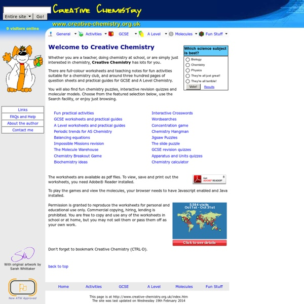 Creative Chemistry - fun activities, worksheets, games and revision quizzes