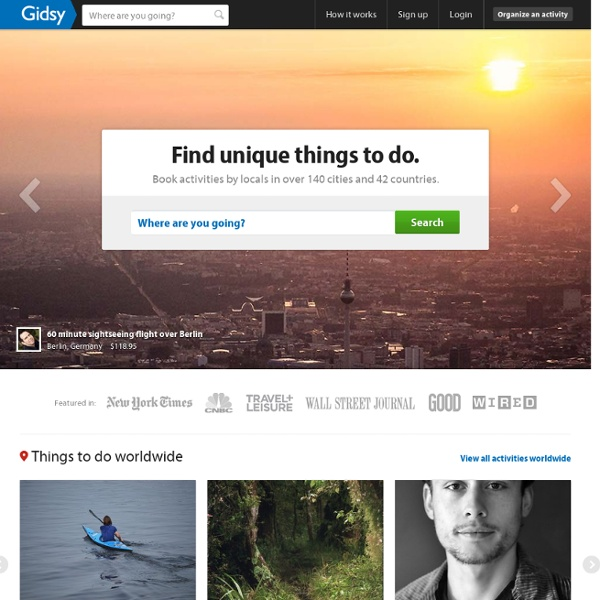 Gidsy: Book and offer tours, activities, workshops, local events and more exciting things to do