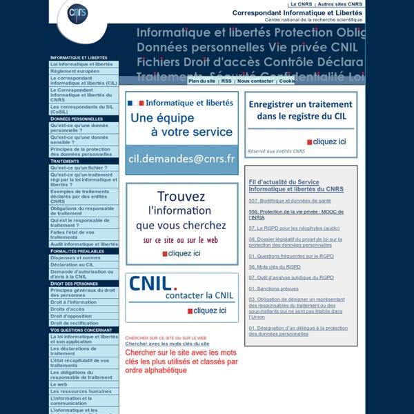 Fil d'actualité du Correspondant Informatique et libertés du CNRS