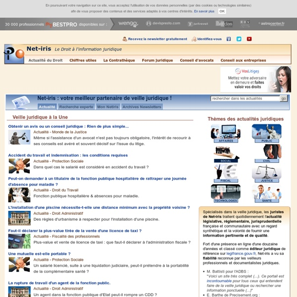 Actualité juridique : la veille juridique de Net-iris