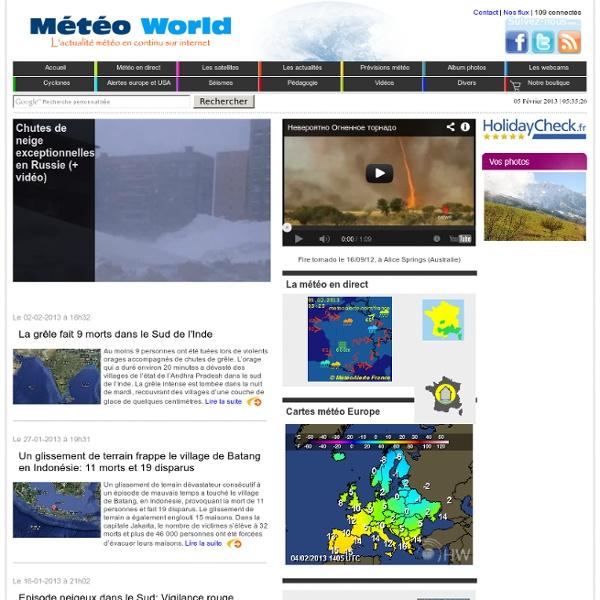 Actualité météo France et monde, météo en direct, prévisions météo Paris et France, suivi des cyclones et du temps en direct.
