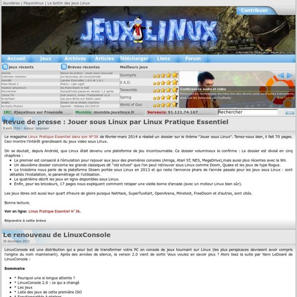 Jeuxlinux - Le site des jeux pour linux - Actualités