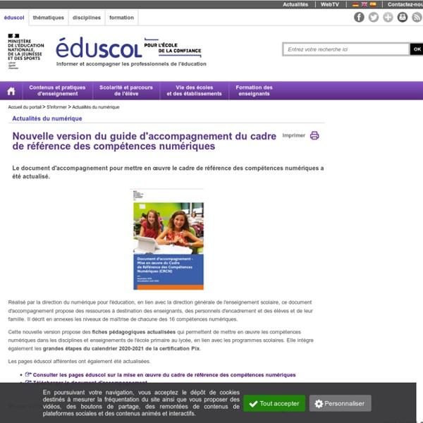 Actualités du numérique - Guide d'accompagnement du CRCN