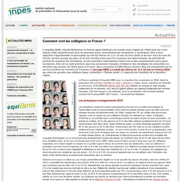 Actualités 2012 - Comment vont les collégiens en France ?