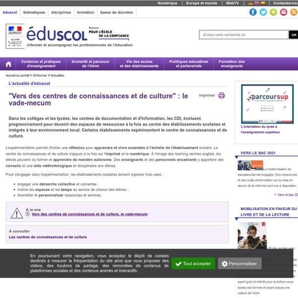 """Actualités - """"Vers des centres de connaissances et de culture"""" : le vade-mecum"""