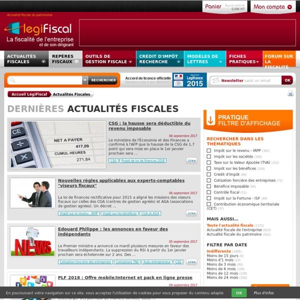 Actualités fiscales droit fiscal actu information fiscale