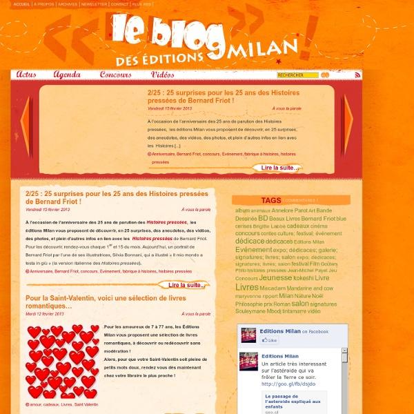 Le blog des éditions Milan - Actualités, agendas, interviews, vidéos, nouveautés, livres jeunesse, livres enfants