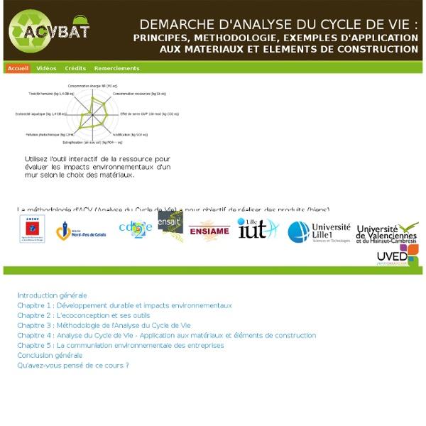 ACVBAT - Démarche d'analyse du cycle de vie. Principes, méthodologie, exemples d'application aux matériaux et éléments de constr
