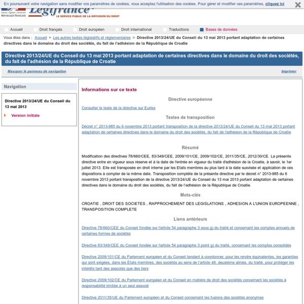 Directive 2013/24/UE du Conseil du 13 mai 2013 portant adaptation de certaines directives dans le domaine du droit des sociétés, du fait de l'adhésion de la République de Croatie