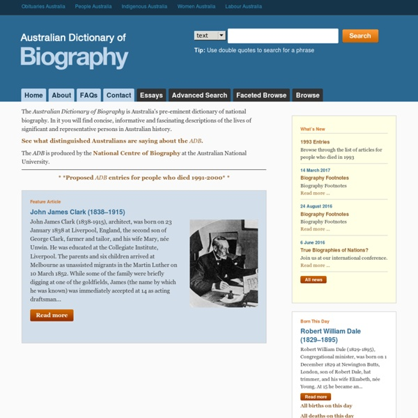 ADB Home - Australian Dictionary of Biography