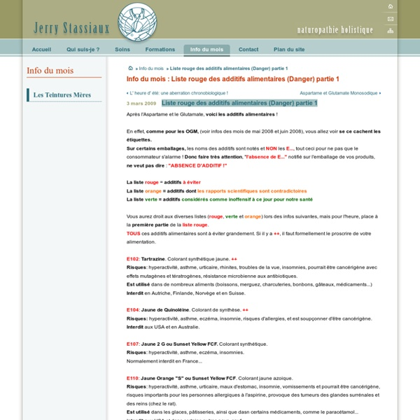 Liste rouge des additifs alimentaires (Danger) partie 1