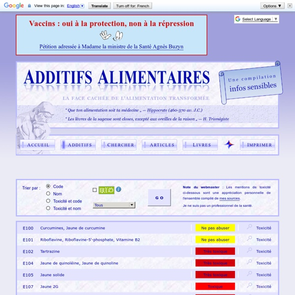 Additifs alimentaires – Liste