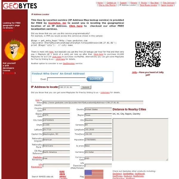 Geobytes IP Address Locator