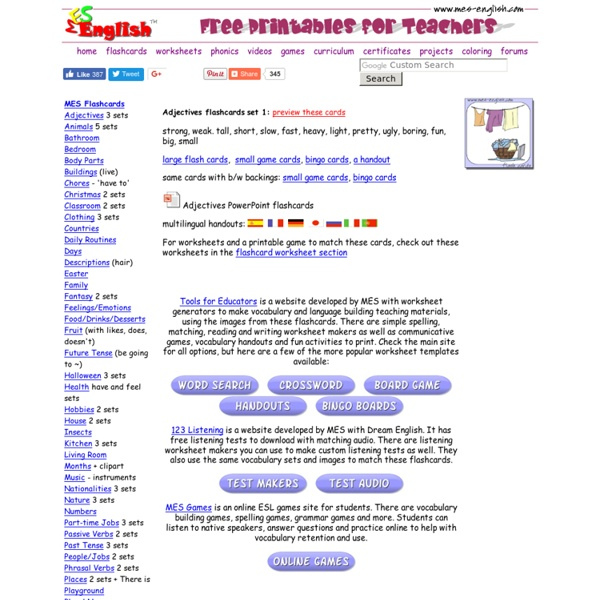 Adjectives Flashcards, Opposites flashcards, game cards, handouts, adjectives worksheets and printables
