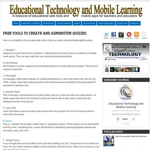 Educational Technology and Mobile Learning: Free Tools To create and Administer Quizzes