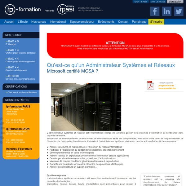 Administrateur système et réseau - certification MCSA / MCTS