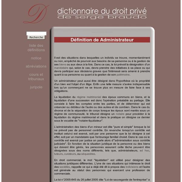 Administrateur - Définition sur Dictionnaire-Juridique.com