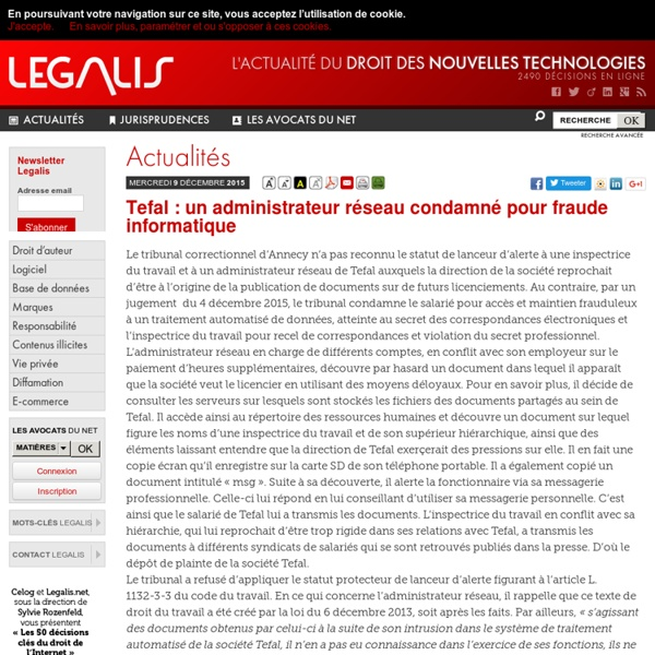Tefal: un administrateur réseau condamné pour fraude informatique