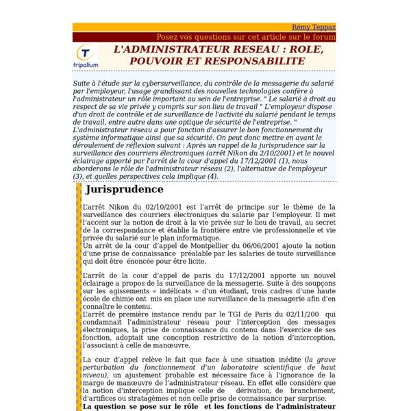 L'ADMINISTRATEUR RESEAU : ROLE, POUVOIR ET RESPONSABILITE
